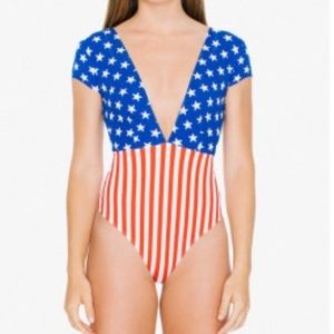 American Apparel Flag Thong Cotton Bodysuit